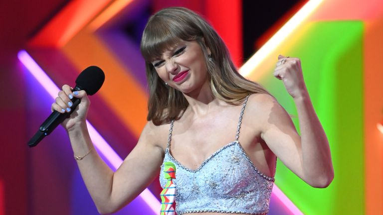 Taylor Swift accepts the award for Global Icon during The BRIT Awards 2021 at The O2 Arena on May 11, 2021 in London, England.