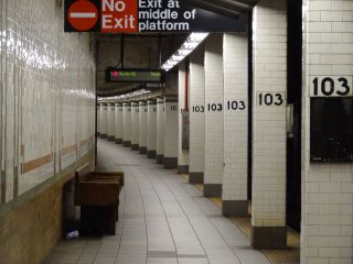 An empty subway in NYC.