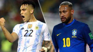 Argentina vs Brazil live stream: Neymar Jr. (L), Lautaro Martinez (R)
