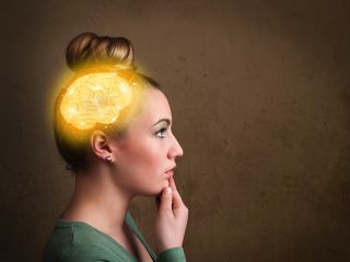 A woman's brain appears to glow from within