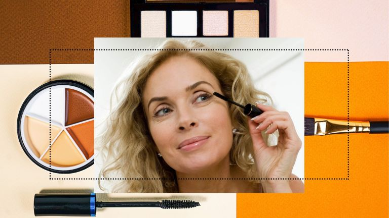 makeup tips for older women photo collage of woman putting on mascara
