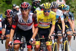 Rafal Majka leads Tadej Pogacar on stage 17 of the Tour de France