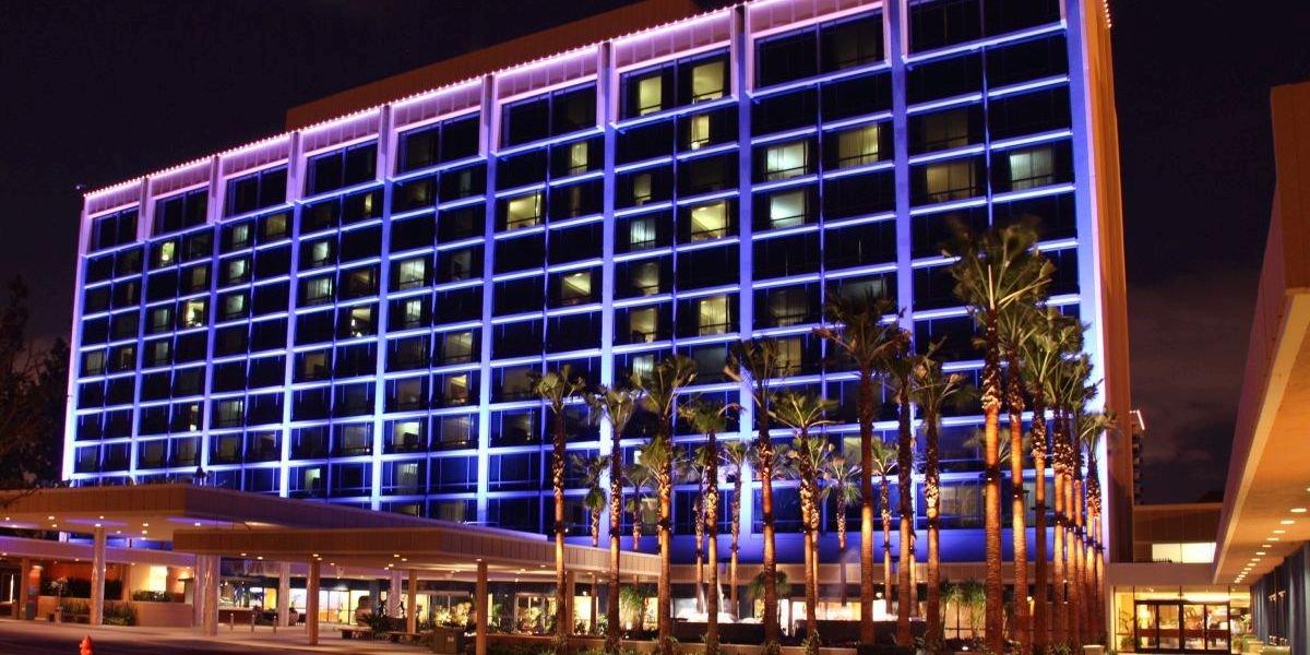 the Disneyland Hotel at night