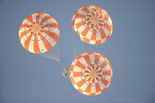 Orion human space capsule's parachute system test