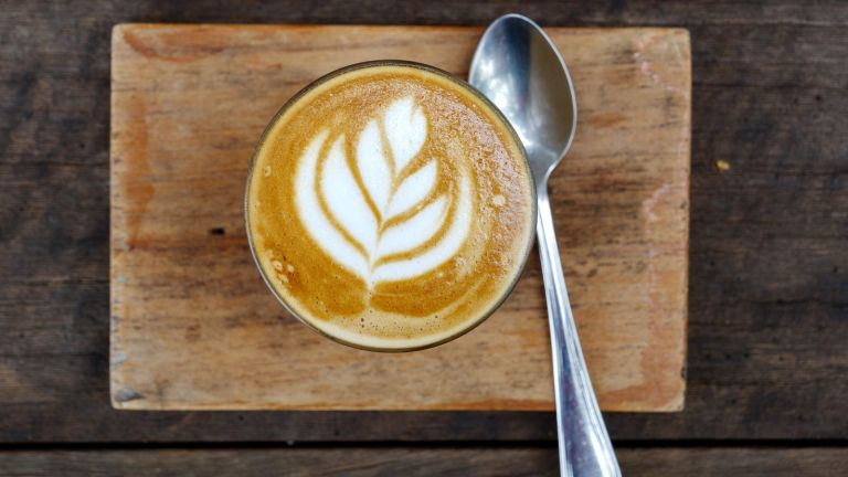 flat white with spoon