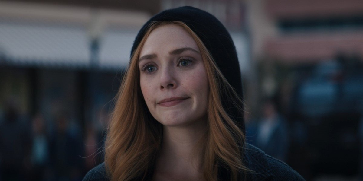 elizabeth olsen's wanda in hoodie on wandavision