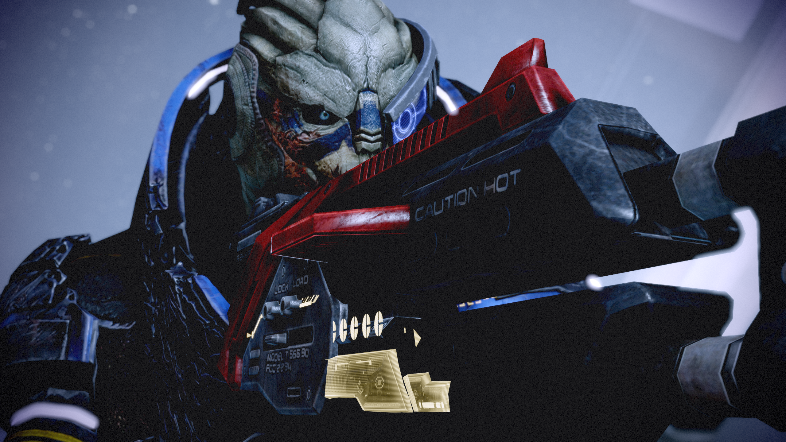 """The lizard-like face of Garrus from Mass Effect 2 peering down the sights of a large gun. The side of the gun reads """"Caution: Hot."""""""