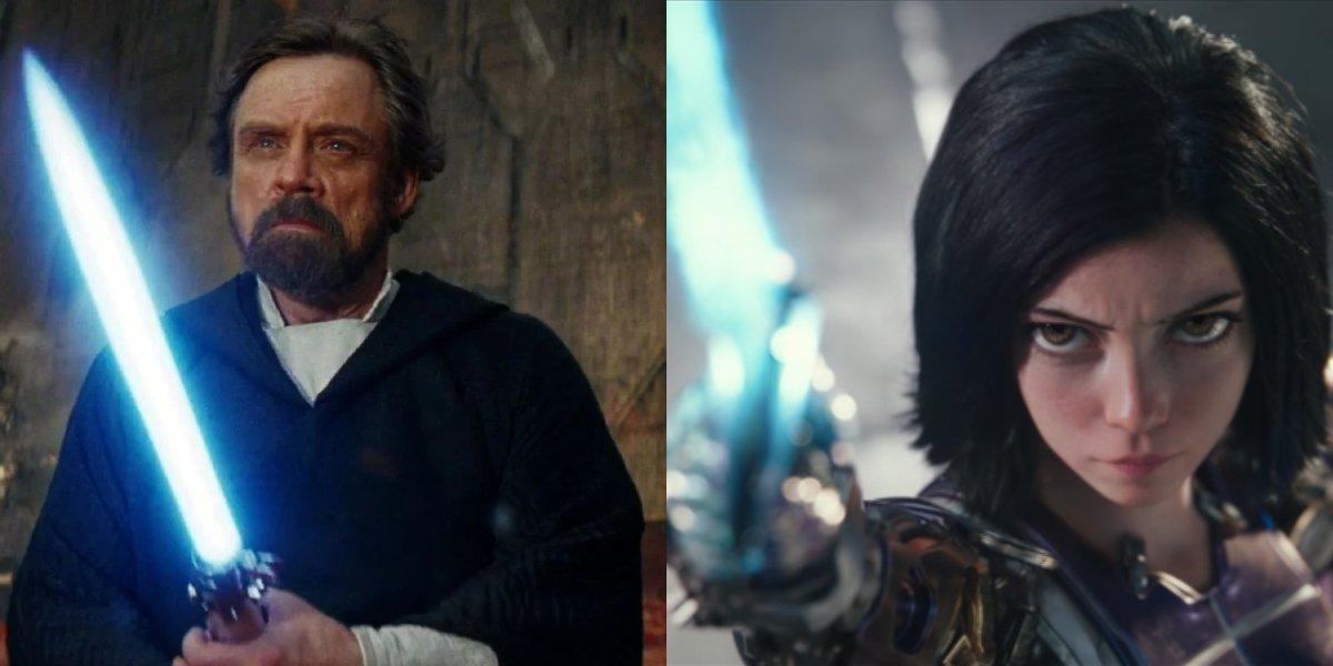 Luke Skywalker and Alita side by side, blades in hand