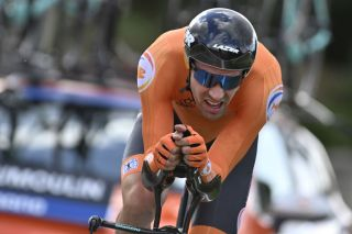 Dutch Tom Dumoulin pictured in action during the men elite individual time trial 317km at the UCI Road World Cycling Championships Friday 25 September 2020 in Imola ItalyBELGA PHOTO ERIC LALMAND Photo by ERIC LALMANDBELGA MAGAFP via Getty Images