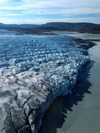 a calving glacier in western greenland