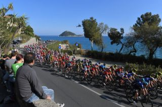 SANREMO ITALY MARCH 23 Landscape Peloton Mediterranean Sea Helicopter Fans Public during the 110th MilanoSanremo 2019 a 291km race from Milano to Sanremo MilanoSanremo on March 23 2019 in Sanremo Italy Photo by Tim de WaeleGetty Images