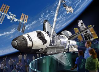 The Kennedy Space Center Visitor Complex's design concept for displaying a retired space shuttle orbiter.