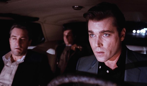 Ray Liotta, Robert De Niro and Joe Pesci take a ride with a body in the trunk in Goodfellas