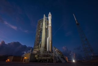 A United Launch Alliance Atlas V rocket carrying the classified NROL-52 spy satellite for the U.S. National Reconnaissance Office stands atop a launchpad at the Cape Canaveral Air Force Station in Florida for an Oct. 14, 2017 launch.