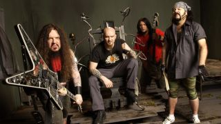 A promotional picture of Damageplan taken in 2004