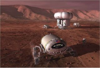 Artist's illustration of a crewed Mars base.