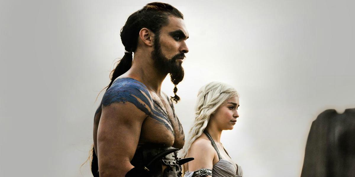 Game of Thrones Jason Momoa Khal Drogo Emilia Clarke Daenerys Targaryen HBO