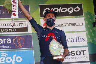 Adam Yates (Ineos) celebrates taking third place in Il Lombardia 2021