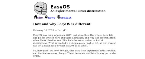 screenshot of EasyOS' website
