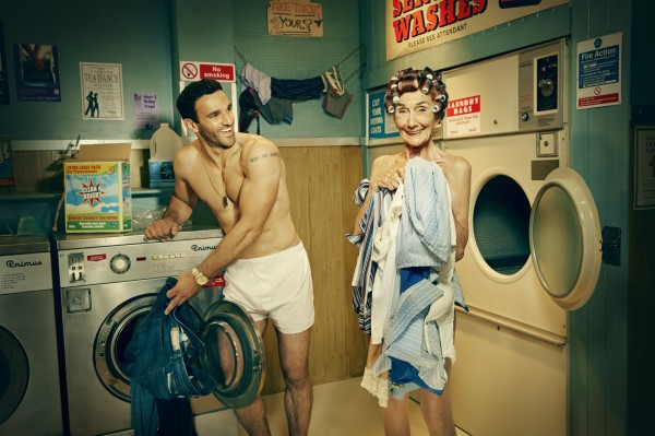 A picture of EastEnders' Dot Branning and Kush Kazemi in the BBC Children in Need calendar