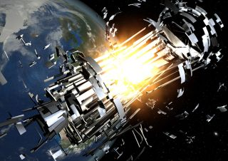 An artist's illustration of a satellite collision that destroys a spacecraft in orbit.