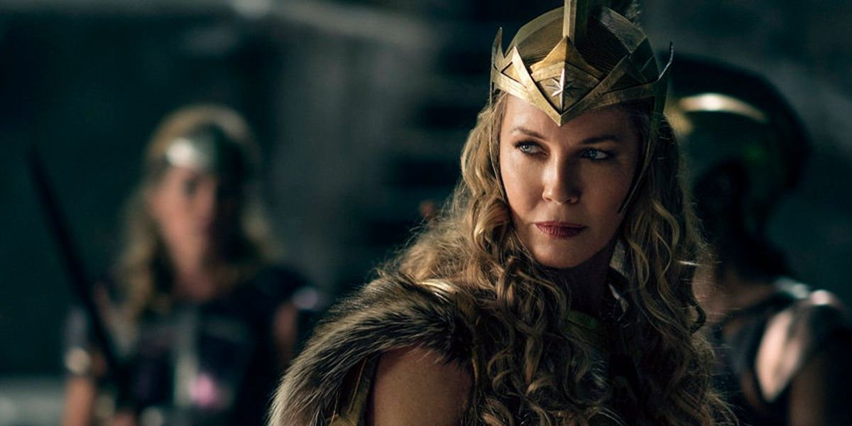 Wonder Woman Connie Nielsen looking over her shoulder stoically