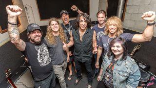 L-R Tracii Guns, Shane Fitzgibbon, Matt, Paul Stanley, Classic Rock's Clay Marshall, Patrick, Megan