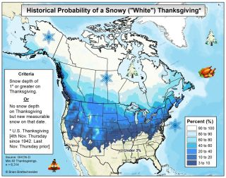 Thanksgiving snow map
