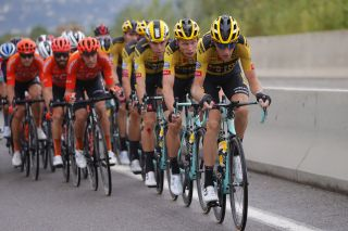 Jumbo-Visma's Robert Gesink leads the bunch during stage 1 of the 2020 Tour de France in Nice