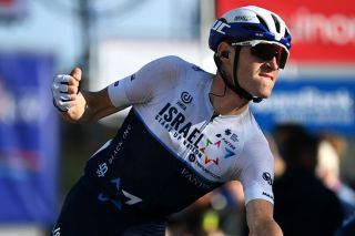 Ben Hermans (Israel Start-Up Nation) celebrates at finish line as winner of stage 3