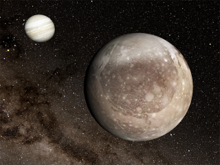 An artist's depiction of Jupiter, at left, and its massive moon Ganymede in the foreground.
