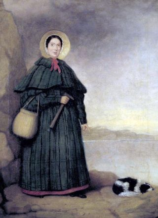 Mary Anning and her loyal dog, Tray, in the only known portrait painted of her during her life.