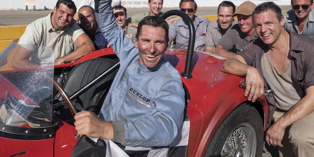 Christian Bale triumphant in race car Ford V Ferrari