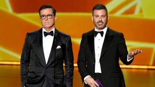 Stephen Colbert and Jimmy Kimmel at the 71st annual Emmy Awards.
