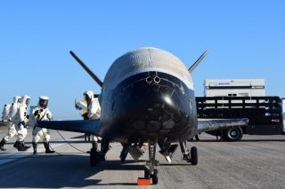The U.S. Air Force's X-37B Orbital Test Vehicle mission 4 (OTV-4) is seen after landing at the Shuttle Landing Facility of NASA's Kennedy Space Center in Cape Canaveral, Florida on May 7, 2017. The unpiloted space plane spent a record 718 days in space du