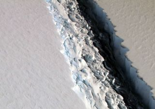 A huge crack, that's now some 109 miles (175 km) long, can be seen in the Antarctic Peninsula's Larsen C ice shelf in this aerial image captured on Nov. 10, 2016, as part of NASA's IceBridge mission.
