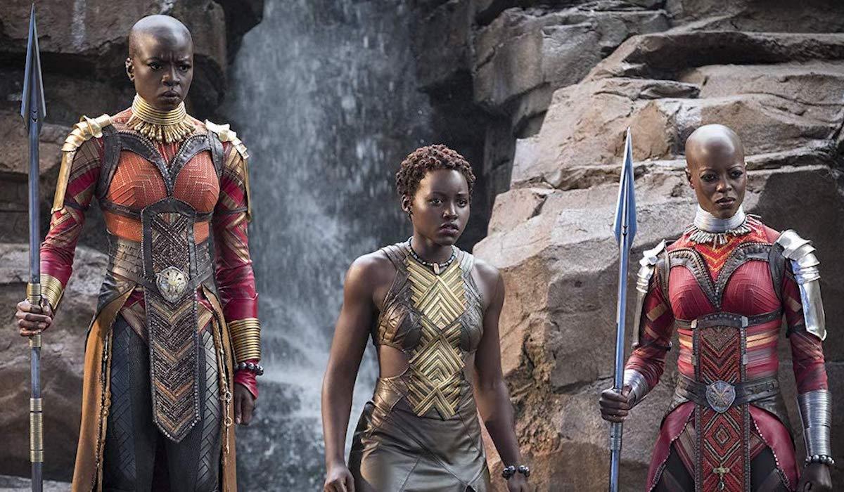 Danai Gurira, Lupita Nyong'o and Florence Kasumba in Black Panther