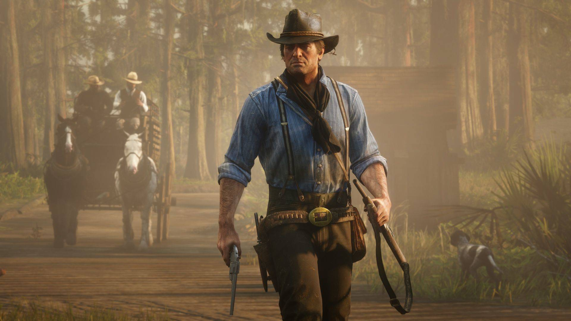 Arthur Morgan from Red Dead Redemption 2 holding a pistol and a rifle