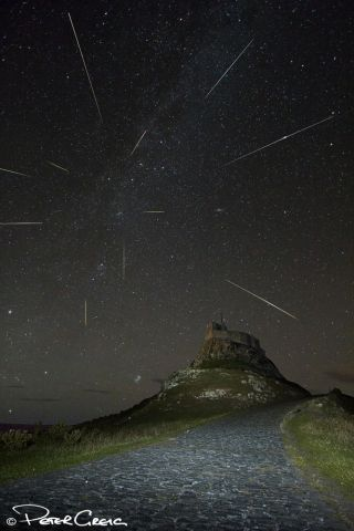 Astrophotographer Peter Greig captured this created this composite view of the 2013 Perseid meteor shower over Lindisfarne Castle on Holy Island in Northumberland, U.K., on Aug. 11, 2013.