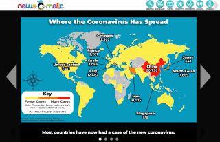News-O-Matic EDU screenshot showing world map of coronavirus cases