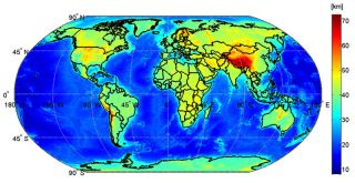 A map of the globe with the depth of the Moho, the boundary between Earth's crust and mantle