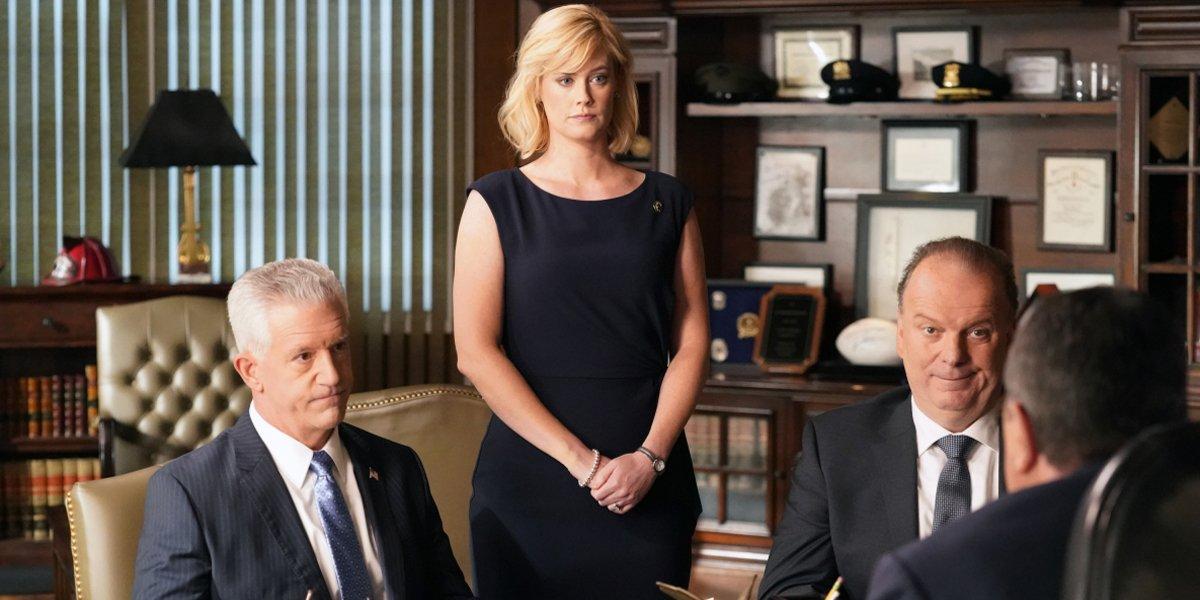 Blue Bloods Season 10 premiere CBS Gregory Jbara as Garrett Moore, Abigail Hawk as Abigail Baker, Ro