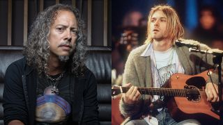 A montage of images of Kirk Hammett and Kurt Cobain