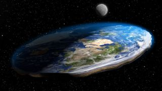 Earth appears as a flattened disk against the backdrop of space.