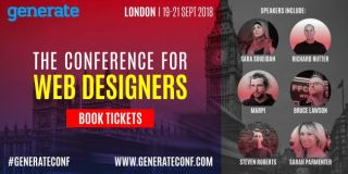 An image promoting ticket sales for Generate London 19-21 September 2018, featuring the speakers Sara Soueidan, Richard Rutter, Marpi, Bruce Lawson, Steven Roberts and Sarah Parmenter.