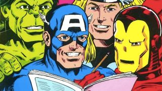 image of Hulk, Captain America, Thor, and Iron Man reading a book together