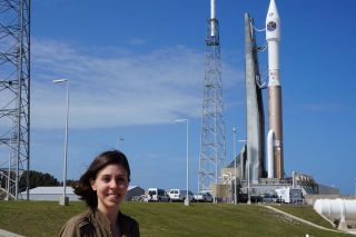 Space.com reporter Calla Cofield at Space Launch Complex 41 at Cape Canaveral Air Force Station in Florida. The Magnetospheric Multiscale mission is loaded up on top of an Atlas V rocket and is set to launch tonight (March 12) at 10:44 p.m. EDT (0244 GMT