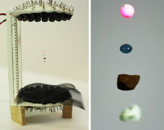Using a home-built acoustic levitator, scientists were able to levitate Styrofoam, water, coffee and paper.