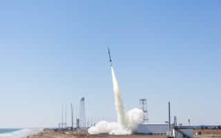A NASA Black Brant IX sounding rocket carrying the Advanced Supersonic Parachute Inflation Research Experiment or ASPIRE launches from the agency's Wallops Flight Facility on Wallops Island, Virginia on March 31, 2018.