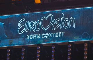 Eurovision logo as Eurovision 2021 is on.